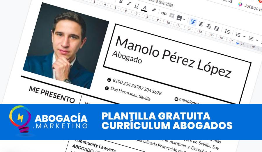Currículum Vitae para abogados. Plantilla rápida gratuita.