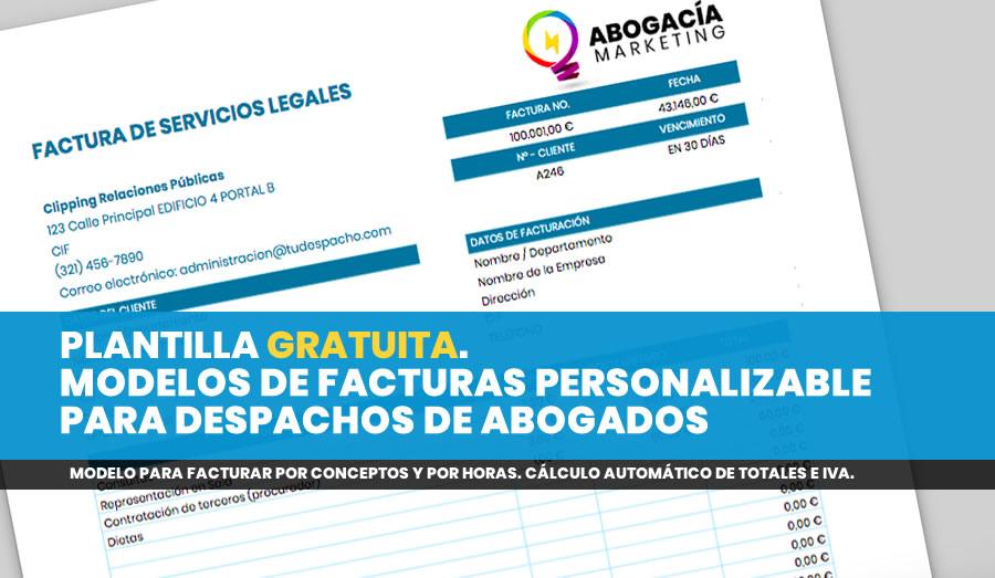 PLANTILLA GRATUITA. MODELOS DE FACTURAS PERSONALIZABLE PARA DESPACHOS DE ABOGADOS
